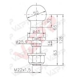 Koule ISO 50 WW KUB / 50, pr. 50 mm, 3500 kg, M22x1,5