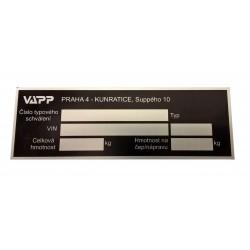 Výrobní štítek VAPP (r.v....