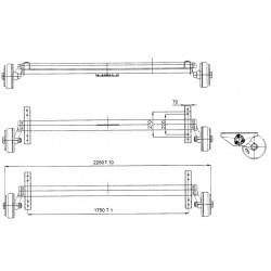 Náprava na přívěsný vozík AL-KO Plus B 1800-9, 1800 kg, 1750mm, 112x5, zesílené patky