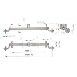 Náprava na přívěsný vozík AL-KO UBR 700-5, 750 kg, 1000 mm, 100x4, zvýšené patky, středový držák, kužel. ložiska